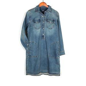 Lands' End Long Sleeve Denim Jean Dress Pockets 12